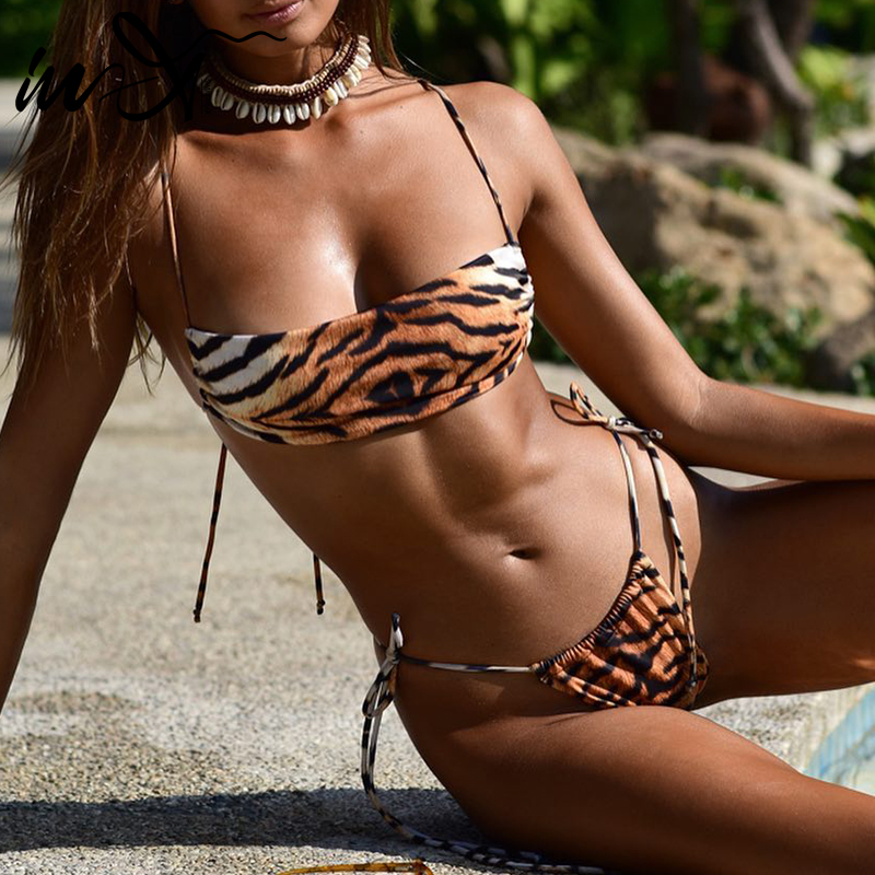 In-X Sexy Leopard Print Swimsuit Female Pu Leather Bikini Set 2020 Bandeau Swimwear Women Summer Bathers Tie Up Bathing Suit New