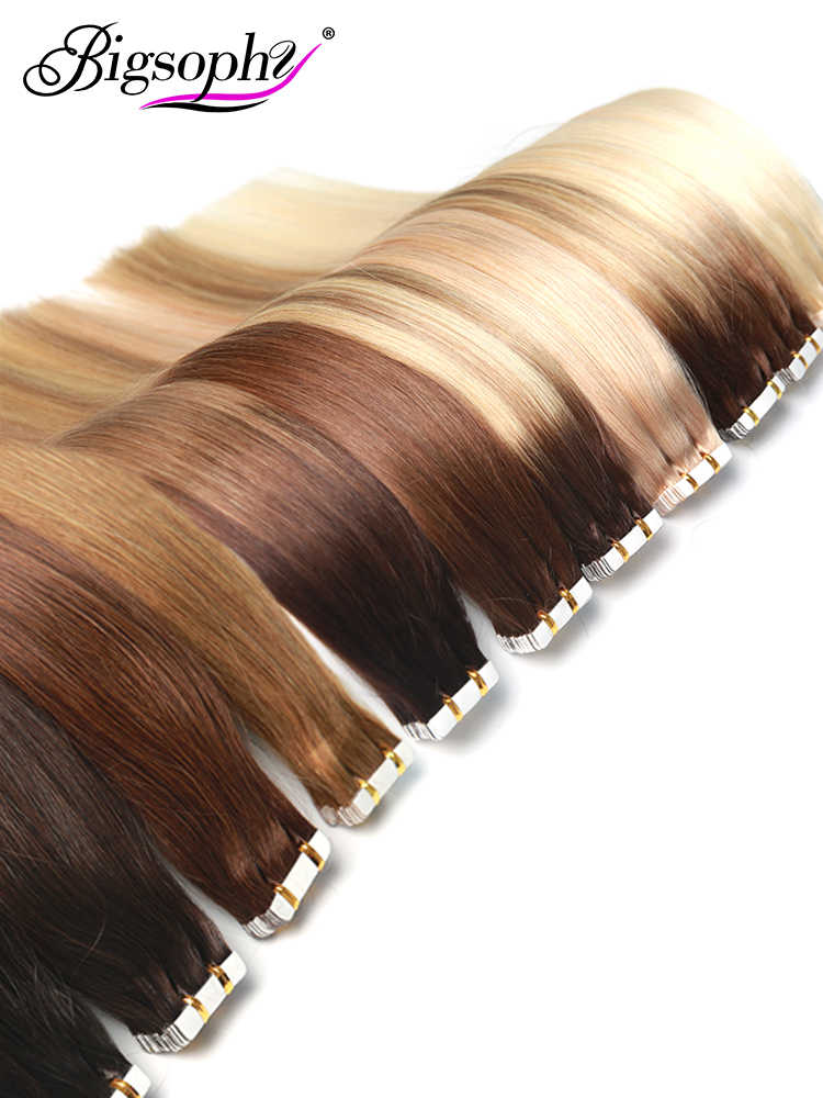"Bigsophy Tape In Human Hair Extensions 14 ""16"" 18 ""20"" 22 ""24"" 26 100% menselijk Remy Haar Tape PU Haarverlenging Straight 2.5 g/stk"