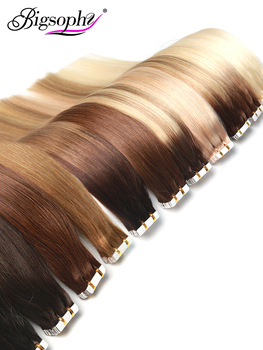 "цена на Bigsophy Tape In Human Hair Extensions 1416 18 20 22 24"" 26 100% Human Remy Hair Tape PU Hair Extension Straight 2.5g/pc"