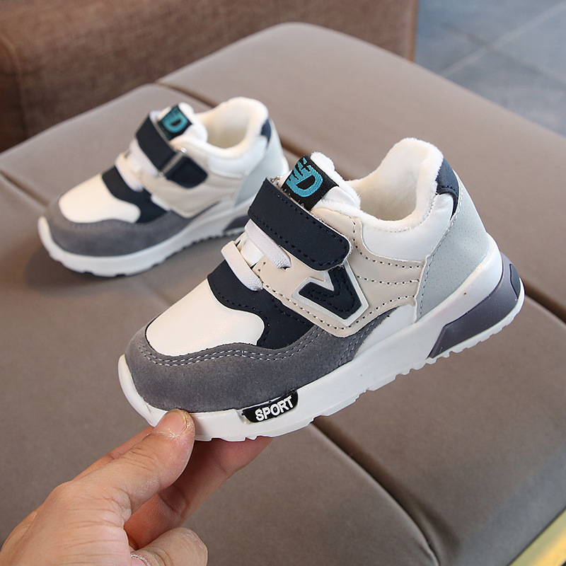 Size 21-30 Children Sport Fleece Shoes Autumn Winter Breathable Kids Boys Shoes Girls Anti-Slippery Sneakers Baby Toddler Shoes