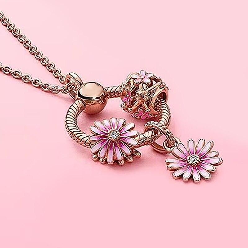 Joyería 2020 nuevo 100% 925 plata esterlina Pandora 1:1 primavera Rosa chica corazón piercing Daisy serie letra O colgante collar