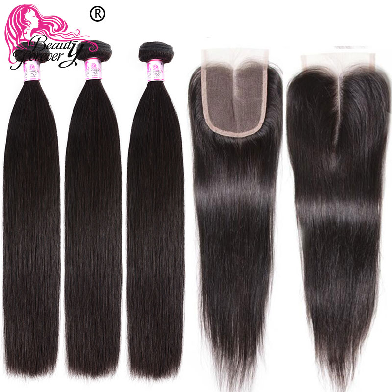Beauty Forever Straight Hair 3 Bundles With 2pcs Closures 4*4 Same Part Peruvian Remy Human Hair Weaves Bundles With Closure