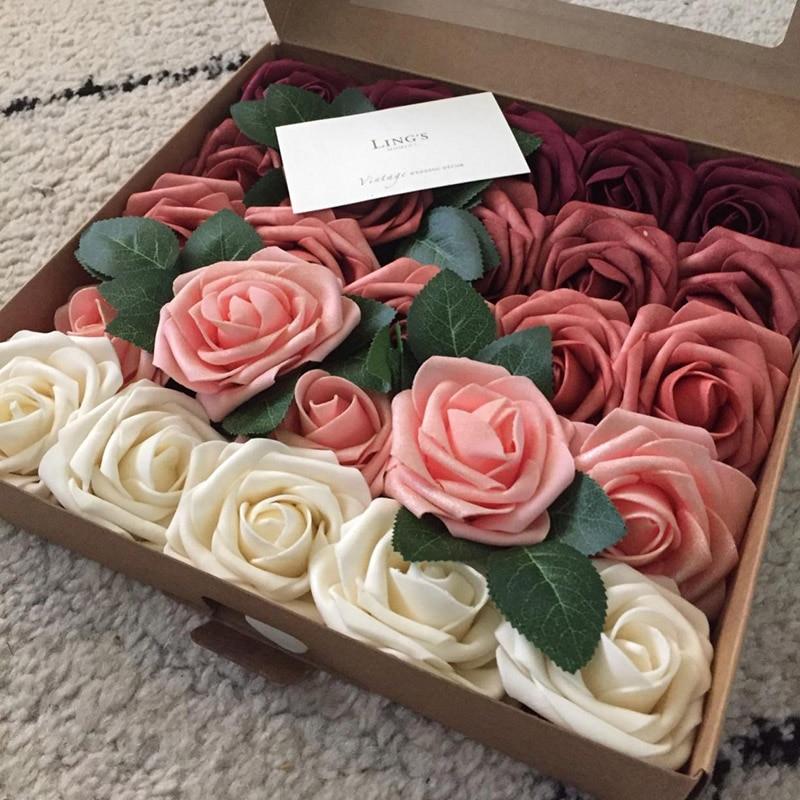 10/20/30 köpfe 8CM Künstliche PE Schaum Rose Blumen Braut Bouquet Blume Für Hochzeit Party Dekorative Scrapbooking DIY blume