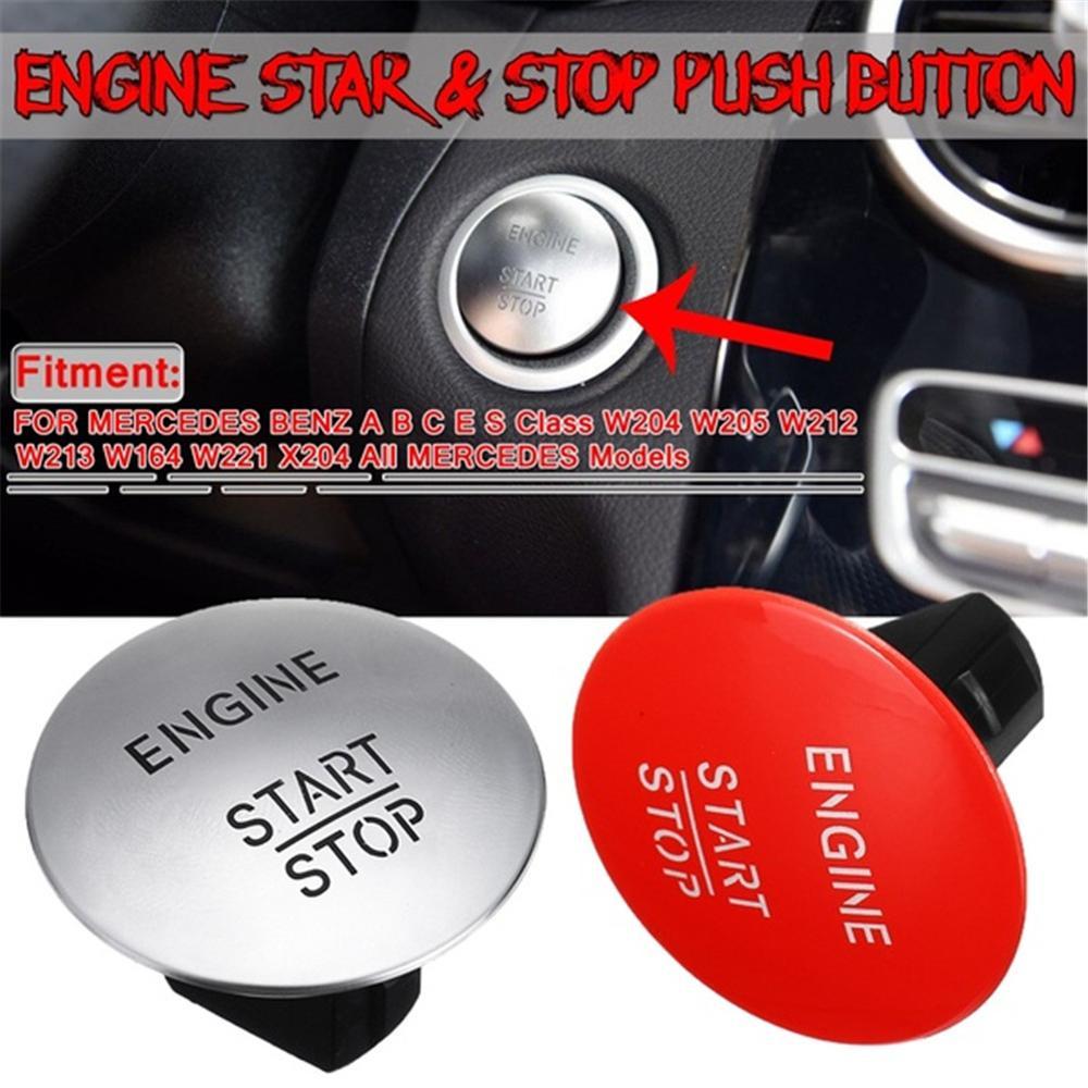 Yeni gümüş/kırmızı araba motoru Start Stop basmalı düğme anahtarı için anahtarsız Mercedes Benz modeli W164 W205 W212 W213 W164 w221 X204