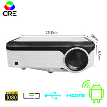 CRE 3200 Lumens Video Projector Full HD 1920*1080 4K support Android Projector With WIFI Bluetooth Android 7 1 OS LED Beamer tanie tanio Auto Correction Manual Correction Digital Projector UK Plug EU Plug US Plug AU Plug 60-120 inches 4 3 16 9 Led Light Above 50 000 1