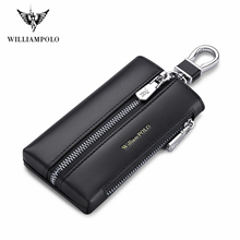 Williampolo Cowhide Leather Key Holder Men's Multifunctional Key Chain Coin Purse Large Capacity Universal Car Key Storage