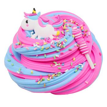 60ml kolorowy jednorożec puszysty szlam klej masło modelowanie Slimes dostarcza Diy glina plastelina dla dzieci nieprzylepna zabawka antystresowa tanie i dobre opinie GISIGN 72305131640 4 kolory no eating Kolorowe gliny Unisex 3 lat
