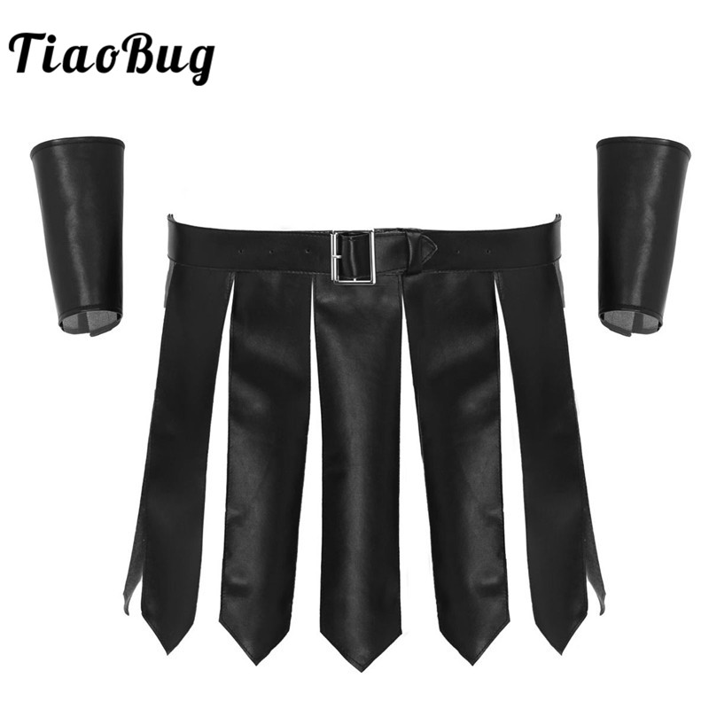 Sexy Men PU Leather Roman Gladiator Costume Kilt Underwear Skirt With Belt And Wristbands Role Play Theme Party Accessories Set