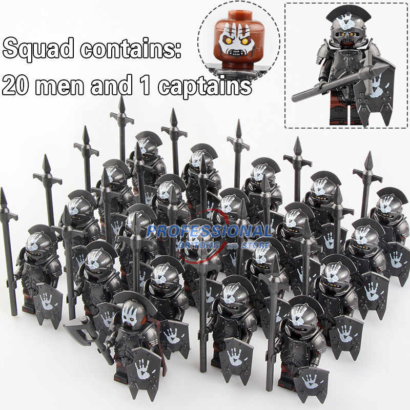21PCS Lord of the Rings Action Figure Strong Orc Soldier Heavy Infantry Spear Building Blocks Toys Forodels Toys Gifts KT1033