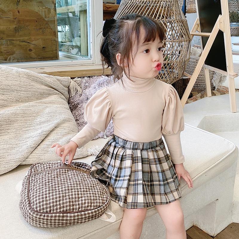 2021 Autumn New Arrival Girls Long Sleeve Cotton T Shirt Kids Puff Sleeve T Shirt  Princess T Shirt 1