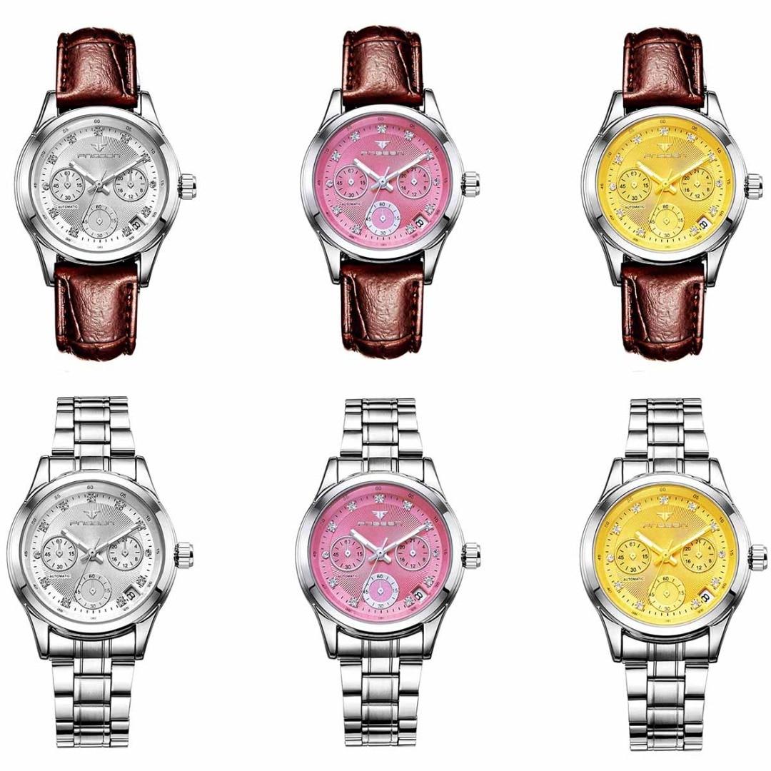 Famous Brand Skeleton Automatic Mechanical Watch Calendar Rhinestone Steel Strap Luxury Waterproof Wristwatch For Women Ladies