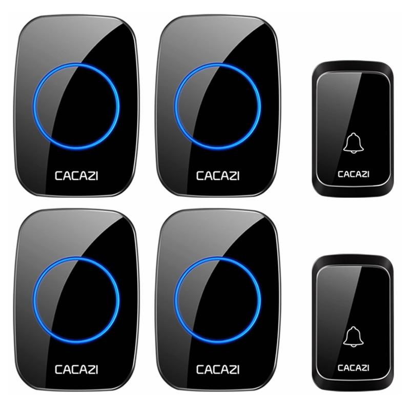 CACAZI Intelligent Waterproof Wireless Doorbell LED Light Home Cordless 58 Chimes Door Bell US EU UK Plug 2 Button 4 Receivers