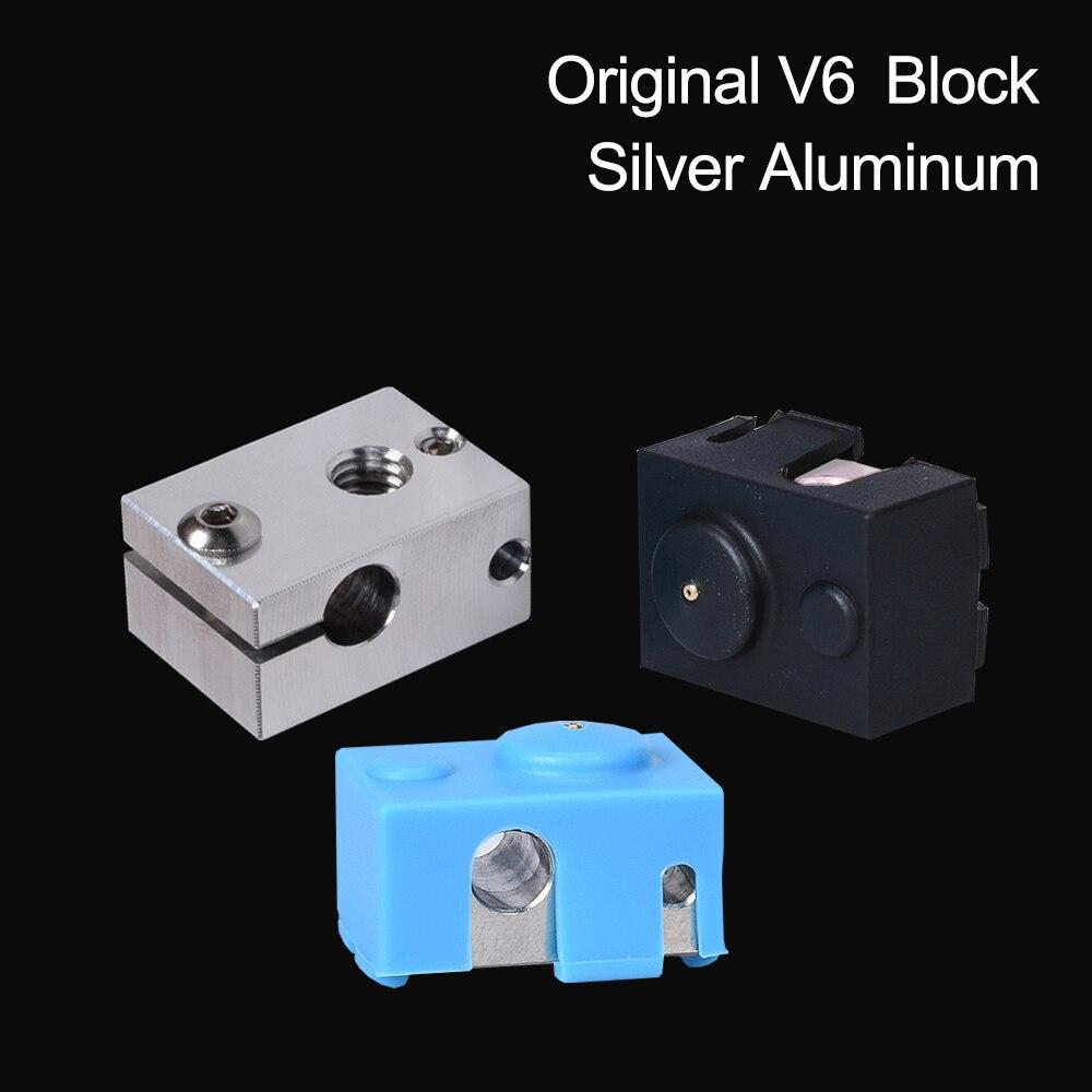 3D Printer Parts V6 Heater Block Silver Aluminum Block Fit V6 Silicone Sock For E3D Hotend Extruder Heated Block V6 Nozzle MK8