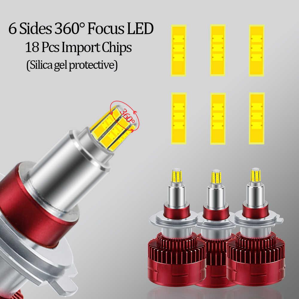 Комплект из 2 предметов, 18 чипы H1 H7 H8 H11 Светодиодный лампа с CANBUS для автомобильных фар HB3 9005 HB4 9006 3D 360 градусов 6000 К 18000LM задние габаритные огни 12В