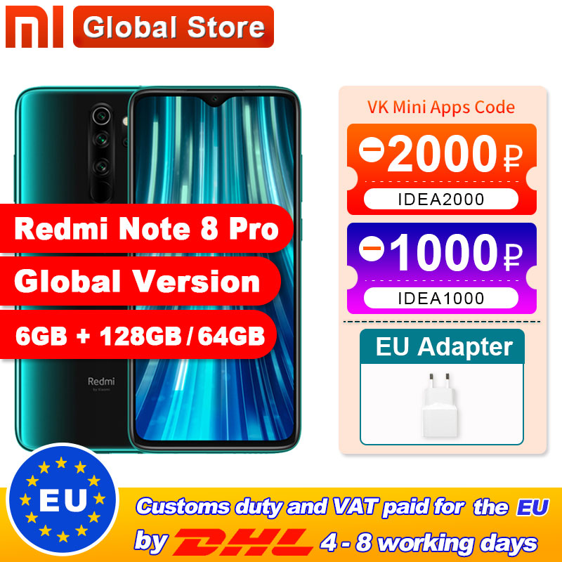 Global Version Xiaomi Redmi Note 8 Pro 6GB 64GB /128GB Smartphone 64MP Quad Camera Helio G90T Octa Core 4500mAh NFC(China)