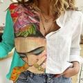 Frauen Patchwork Taste Langarm T-Shirt Herbst Vintage Beiläufige Lose Büro Hemd Femme Plus Größe 5XL Floral Print Shirt Blusa