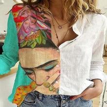 Chemise à manches longues pour femmes, avec boutons, Patchwork, Vintage, ample, pour le bureau, décontracté, 5XL, imprimé Floral, automne, grande taille
