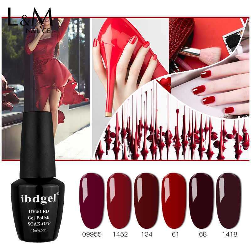 1 PC Ibdgel Kuku Merah Klasik Seri Warna Gel Cat Kuku Kualitas Tinggi Rendam Off UV Merah Anggur Warna Kuku gel Kecantikan
