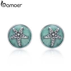 BAMOER 100% 925 Sterling Silver Fantasy Starfish Round Small Stud Earrings for Women Clear CZ Fashion Earrings Jewelry SCE205
