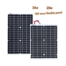 30W 20w 18V Flexible Solar Panel Panels Cells Cell Module DC for Car Yacht Led Light RV 12v Battery Boat Outdoor Charger