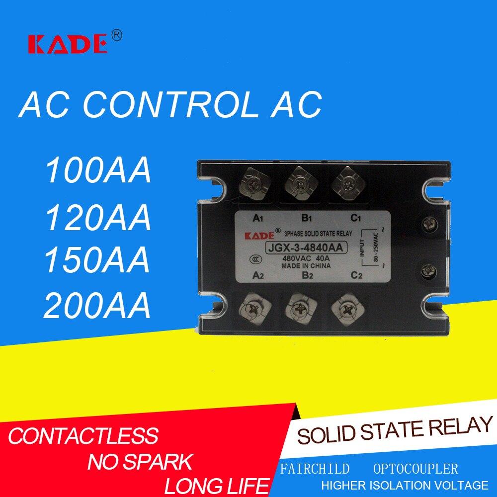 Трехфазное реле переменного тока jgx/SSR 100AA/120AA/150AA/200AA, твердотельное реле переменного тока 80 250VAC Реле      АлиЭкспресс