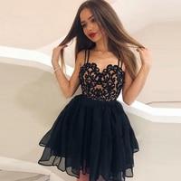 A Line Spaghetti Straps Chiffon Cocktail Dresses Applique Mini Length Party Dresses Vestido De Fiesta High Quality 2020