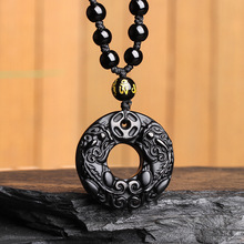 Black Natural Obsidian Necklace Carving Circle Pixiu Round Lucky Amulet Pendant Jade Jewelry Fine Jewelry obsidian necklace natural stone wolf head pendant buddha guardian ball chain carving amulet with obsidian blessing lucky jewelry