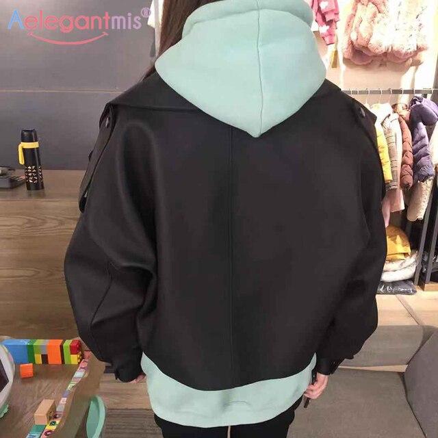 Aelegantmis – Blouson en simili cuir pour femme, mode, veste décontractée et courte, couleur noire, vêtement de motard 3