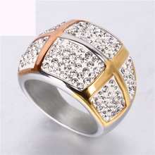 Three color plated argil finger ring luxury jewelry gold titanium steel casting crystal rings for women free shipping