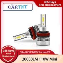 CarTnT 20000LM H11 2PCS Faróis Do Carro 110W Lâmpada LED H4 H7 H1 H8 H9 HB3 9005 HB4 9006 9012 HIR2 6000K LED Lâmpada Luz Fog Lâmpadas