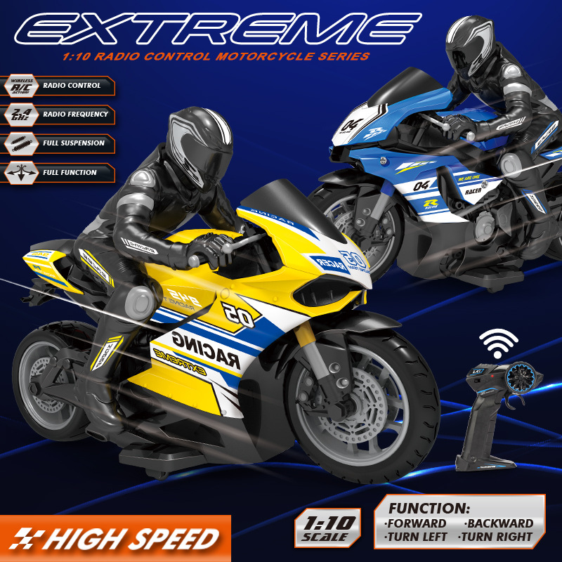 1:10 Big Scale High-speed Racing And Drift Motorbike 25KM/H 2.4GHz Omidirection Control Children's Simulation Electric RC Toys