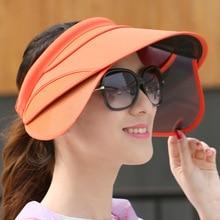 Summer Retractable Visor Female Sun Empty Top Hat Riding Outdoor Sport Cap UV Sun Hat Woman Beach Hat Fishing Cap wholesale цена