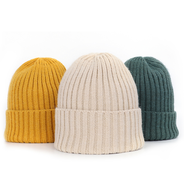New Winter Solid Color Knit Beanie Casual Hat Warm Soft Thicken Hedging Cap 5