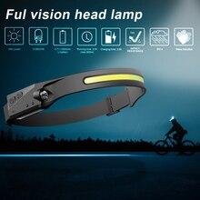 Linterna frontal LED COB con Sensor de movimiento, recargable por USB Luz de trabajo, impermeable, para acampar, correr y pescar, 4 modos