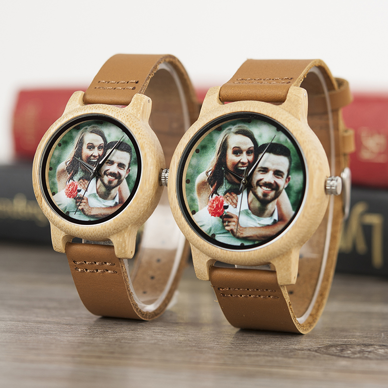 Image 2 - BOBO BIRD Couples Wood Watch Personal Photo Printing Wristwatch Picture Print Customized Clock Unique DIY Gift For Friend/LoverLovers Watches   -