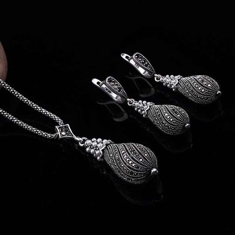 Retro srebrne zestawy kryształowej biżuterii dla kobiet imitacja perły naszyjnik/kolczyki zestaw prezenty ślubne
