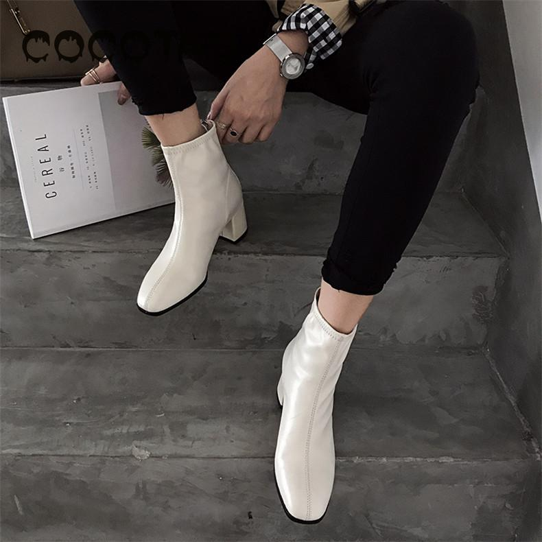 Coat Boots-Boots Star White Women's High-Heeled Comfortable Student And of To England