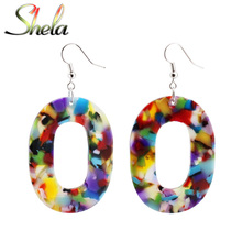 SHELA Big Acrylic Drop Earrings Geometric Oval for Women Bohemian Boho Colorful Fashion Statement Leopard Print Pendientes