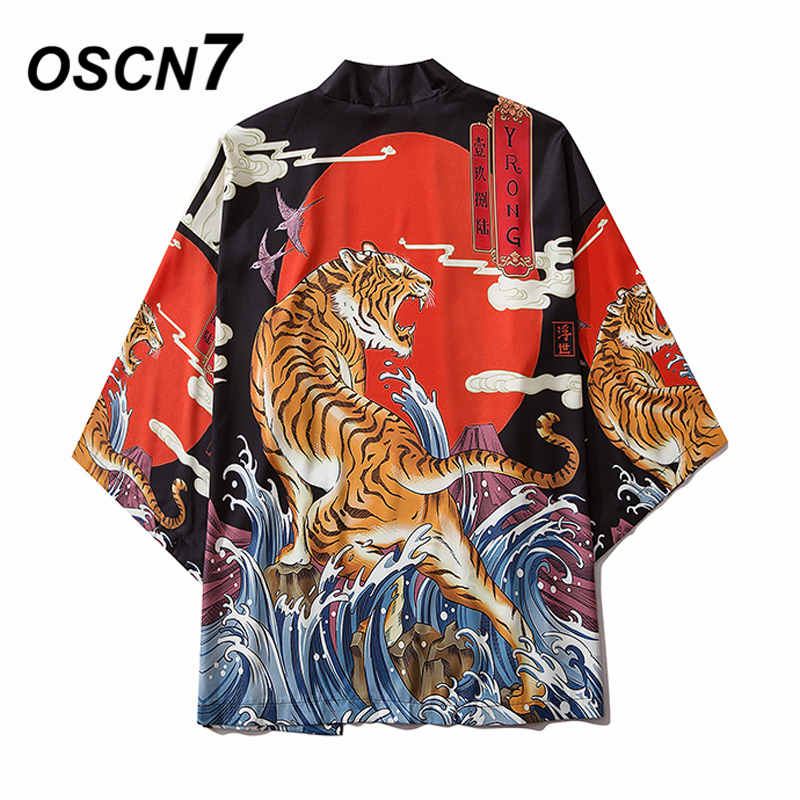 OSCN7 Printed Kimono Cardigan Shirt Men 2020 Japanese Streetwear Three Quarter Sleeve Coat Shirts Harujuku Mens Shirt 6046
