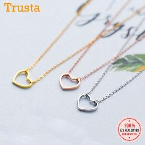 Trusta 2018, женская мода, 100% Стерлинговое Серебро 925 пробы, ювелирное изделие, кулон в виде сердца, короткое ожерелье 37 см, милый подарок для девуш...