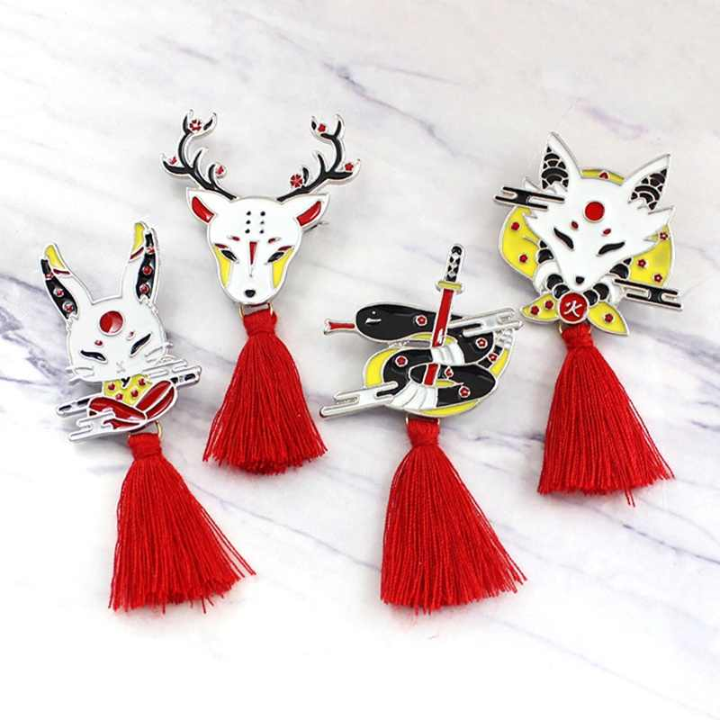 Vintage zwierząt Tassel broszka japoński Ninja królik ogień Fox wąż Kendo Sika Deer emalia Pin plecak odznaka prezenty dla przyjaciół