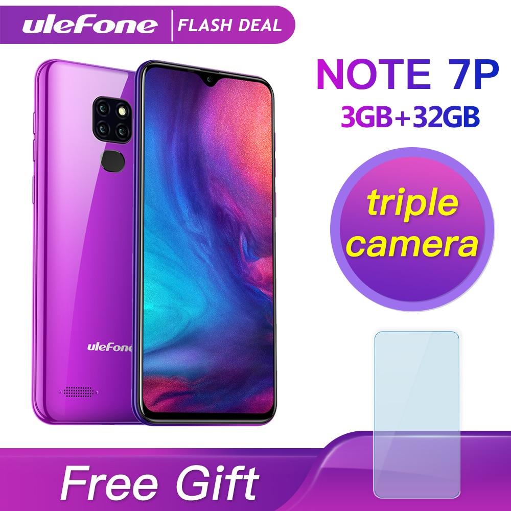 Ulefone Note 7P Smartphone Android 9.0 Quad Core 3500mAh 6.1 pouces Triple caméra 3GB + 32GB 4G téléphone portable téléphone Mobile Android
