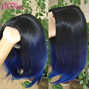 Image 3 - HANNE kısa sentetik peruk Ombre siyah mavi/gri/yeşil/mor Bob peruk yüksek sıcaklık Fiber doğal kadın peruk