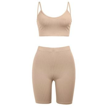 Women Summer 2 Piece Tracksuit Spaghetti Strap Crop Top Biker Shorts Set Ribbed Striped Solid Color Lounge Active Outfit 1