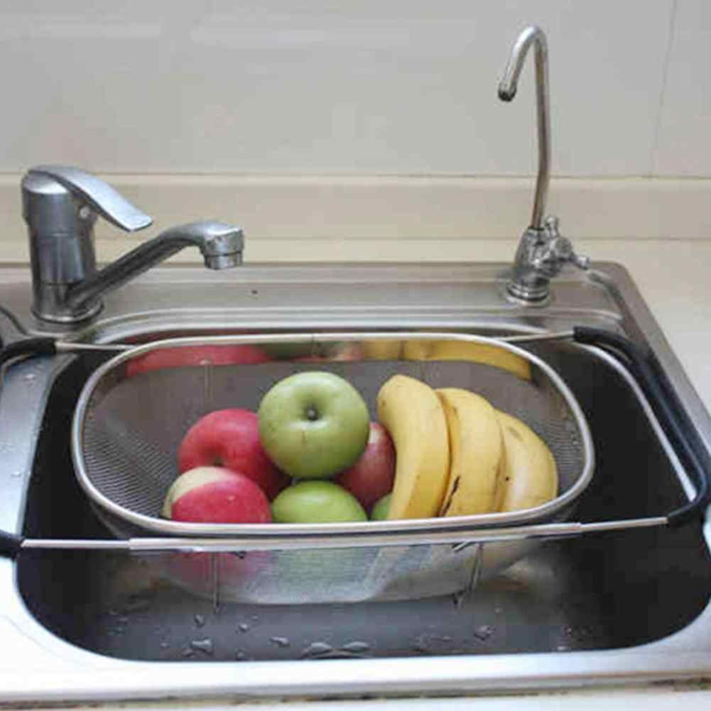 مصفاة من الفولاذ المقاوم للصدأ شبكة قابل للسحب مايكرو مثقب مصفاة استنزاف غسل الشطف للفواكه الخضروات غسالة صحون