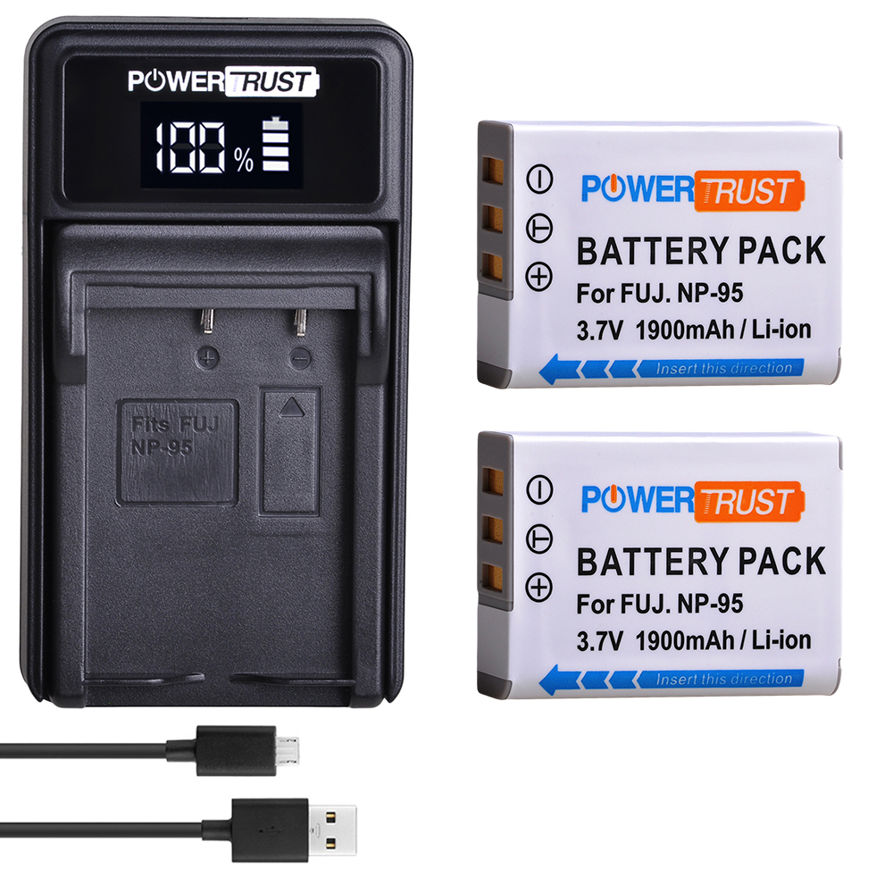 2X NP-95 NP95 NP 95 Li-ion Battery And Charger For FUJIFILM NP-95 F30 F31 F30fd F31fd 3D W1 X100T X100S X100 X-S1 3DW1 Batteries