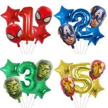 5 pçs aranha hulk homem de ferro balões folha número verde festa inflável cabeça balão festa de aniversário decoração crianças brinquedos globos