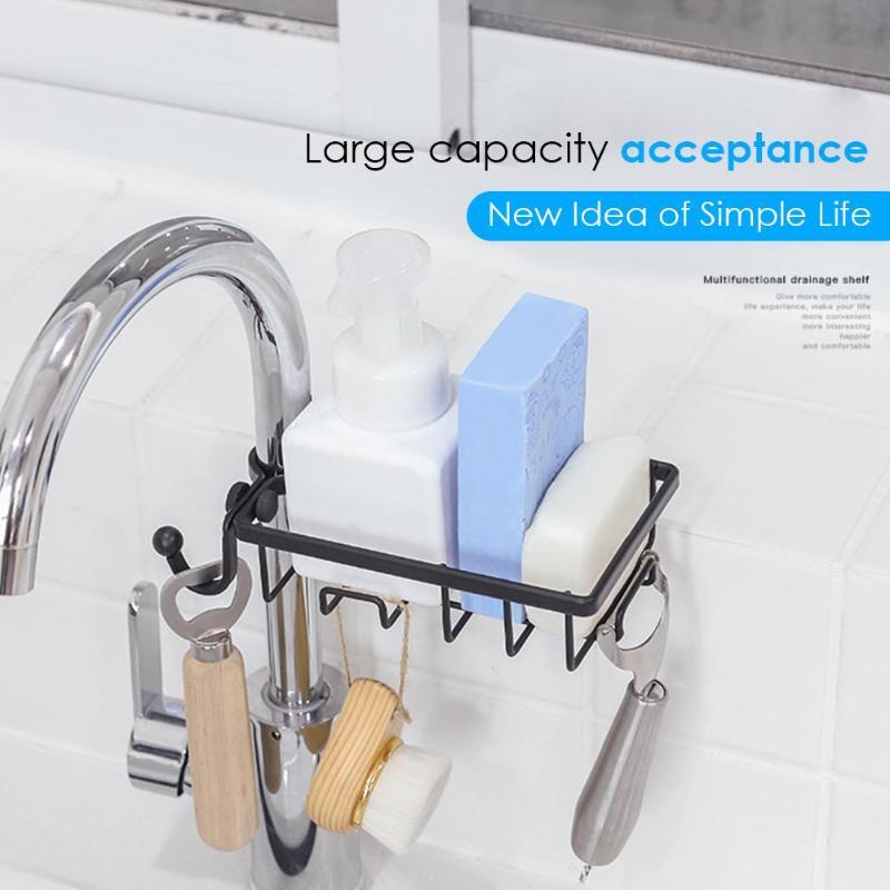 Adjustable Kitchen Drainage Shelf Stainless Steel Faucet Storage Rack Sink Storage Hanging Holder Stand Soap Sponge Dish Drainer