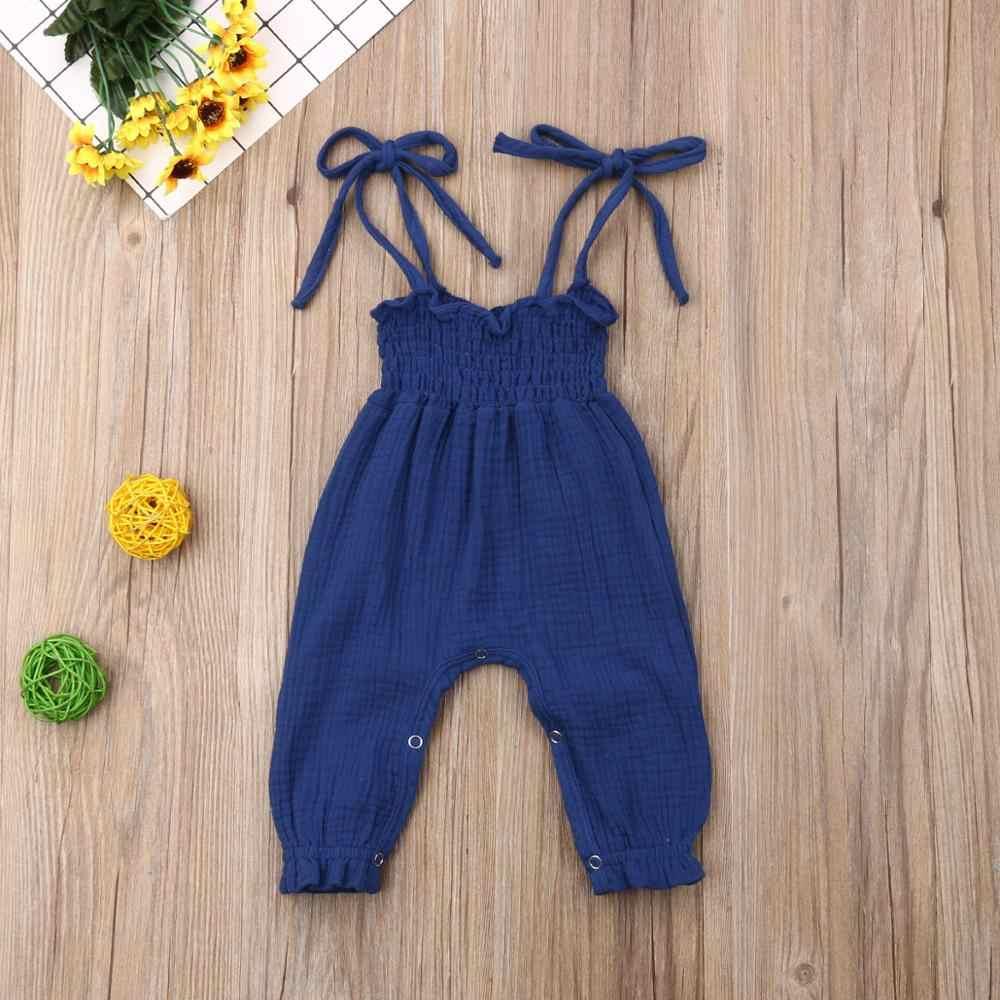 Nowe letnie dziewczynek ubrania stroje dzieci maluch bez rękawów bandaż pajacyki kombinezon kombinezony niemowlę dziewczynki bawełna Playsuit