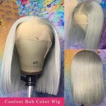 Bob curto cinza peruca de cabelo humano transparente peruca dianteira do laço para as mulheres preplucked bob fechamento do laço peruca 13x4 cabelo remy brasileiro
